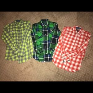 Lot of 3 Long Sleeved button down shirts GAP 10/12
